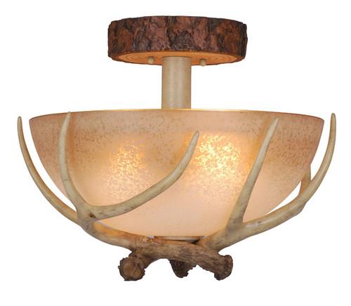 Rustic Antler Semi Flush Ceiling Light - 16 Inch