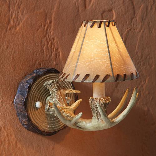 Rustic Antler Wall Lamp
