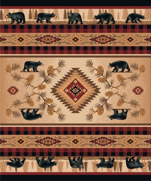 Rustic Bear Parade Rug - 11 x 13