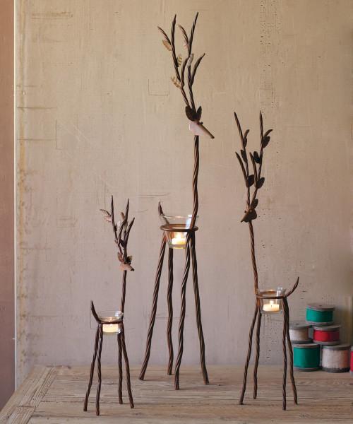 Rustic Iron Reindeer with Tealight - Set of 3