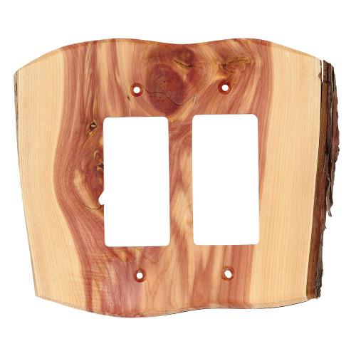 Rustic Juniper Wood Double Rocker Cover