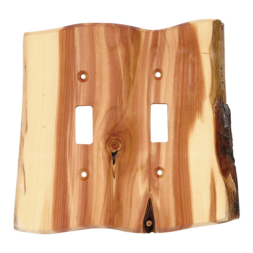Rustic Juniper Wood Double Switch Cover