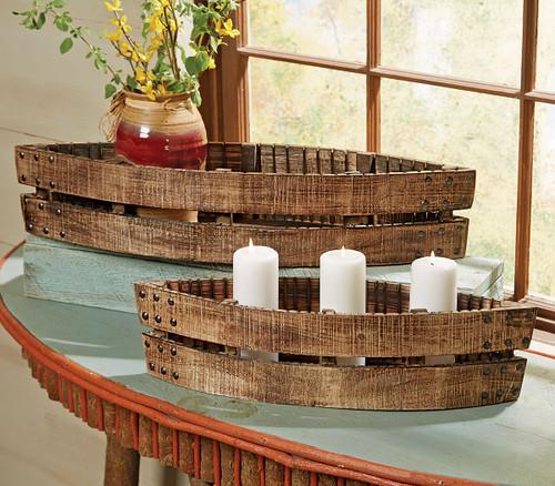 Rustic Reclaimed Wood Canoes - Set of 2