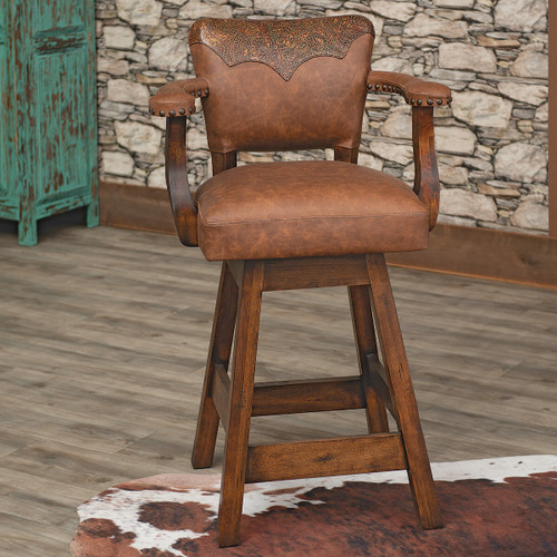 Saddleman Tooled Leather Barstool