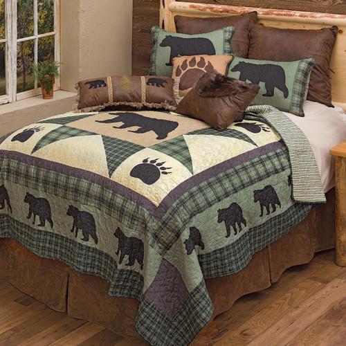 Sage Forest Bear Quilt Set - Queen