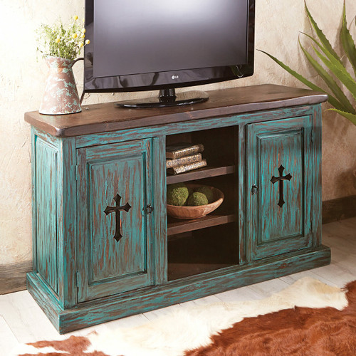Santa Fe Turquoise Cross TV Console / Cabinet