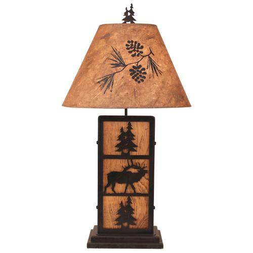 Kodiak Elk and Tree Iron/Wood Table Lamp- Pine Tree Shade