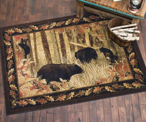 Scenic Black Bear Rug - 5 x 7