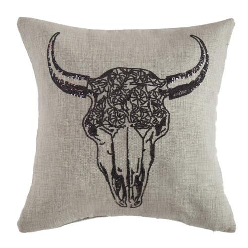 Sequin Floral Skull Pillow