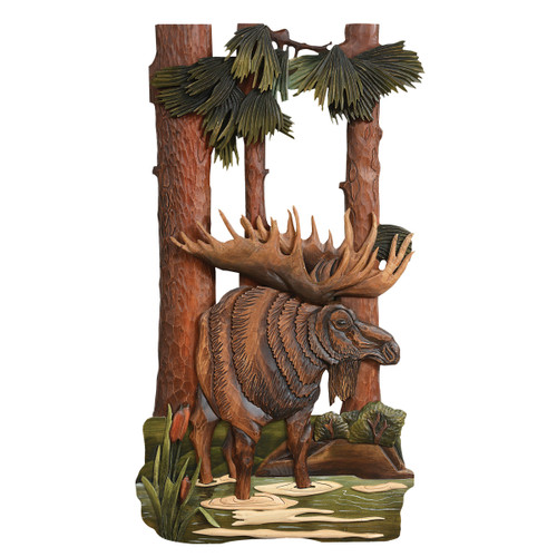 Serenity Moose Carved Wood Wall Hanging