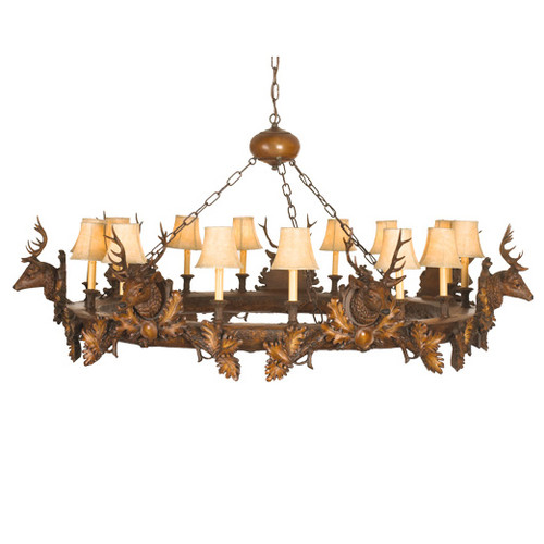 Seven Small Stag Heads Chandelier - 14 Light