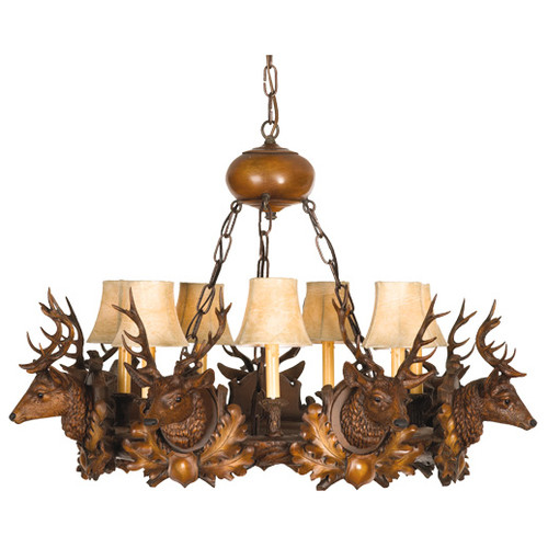 Seven Stag Heads Small Chandelier - 7 Light
