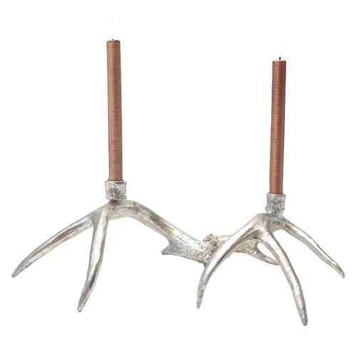 Silver Antler Candlesticks - Set of 2