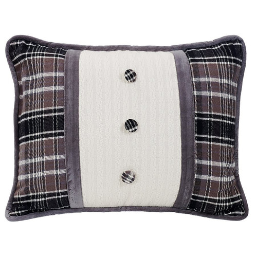 Silver Mountain Oblong Pillow with Covered Buttons