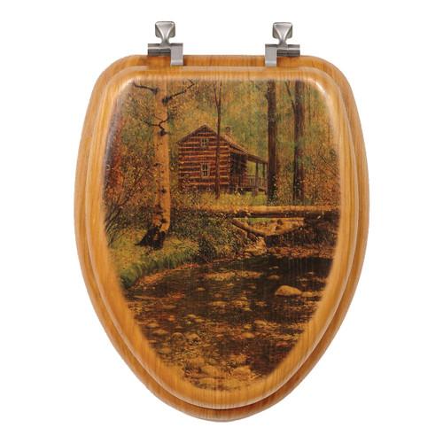 Autumn Hideaway Log Cabin Toilet Seat