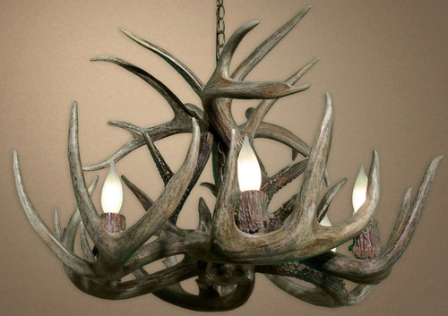 Real Single Tier White-tail Deer Chandelier - Large