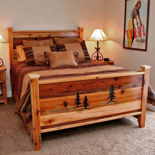 Barnwood Beds with Tree Carvings