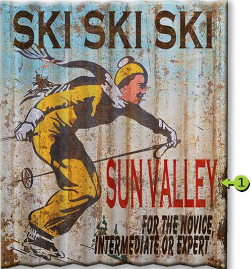 Ski Ski Ski Personalized Corrugated Metal Sign