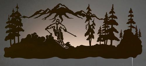 Skier Back Lit Wall Art