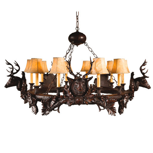 Small Stag Head Chandelier - 10 Light
