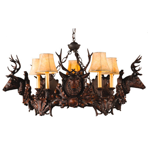 Small Stag Head Chandelier - 5 Light