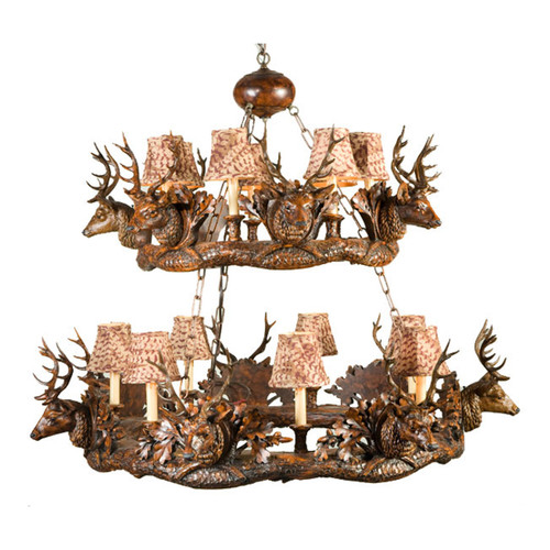Small Stag Head Two Tier Chandelier - Faux Feather Shades