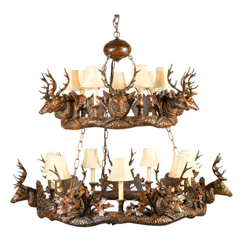 Small Stag Head Two Tier Chandelier - Faux Leather Shades