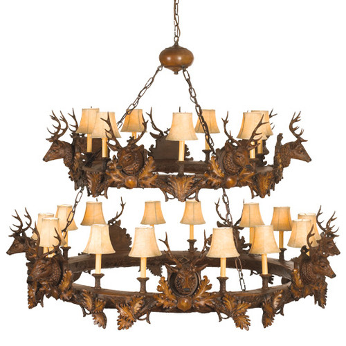 Small Stag Heads Two Tier Chandelier - Large
