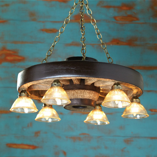 Small Wagon Wheel Chandelier With Downlights