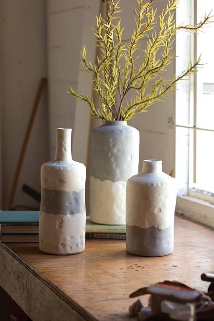 Smoke and Cream Ceramic Bottles - Set of 3