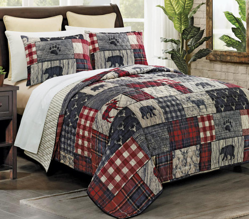 Wildlife Timber & Plaid Quilt Bedding Collection