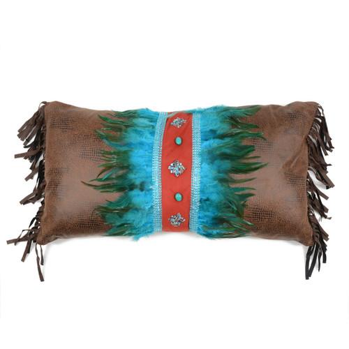 Sonoran Sky Turquoise Feather & Diamonds Pillow