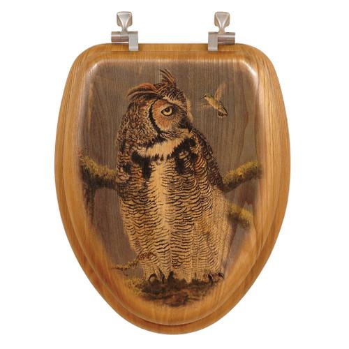 Fearless Owl Wood Toilet Seat