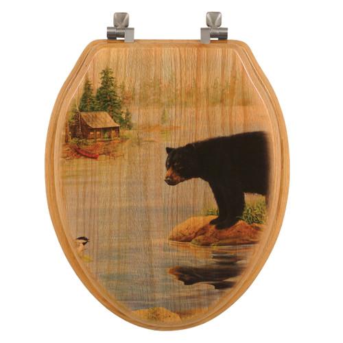 Misty Morning Bear Wood Toilet Seat