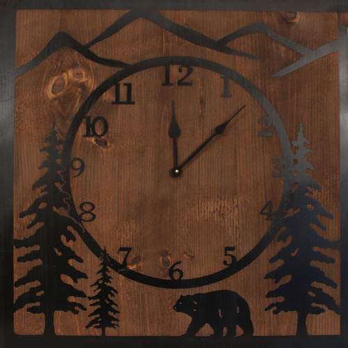 Square Etched Bear Scene Wall Clock