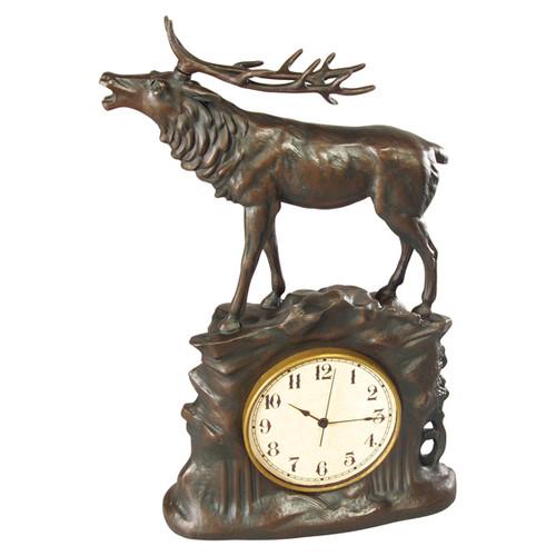 Stag Clock - Bronze