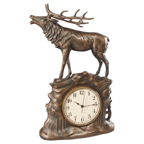 Stag Clock - Vintage Gold