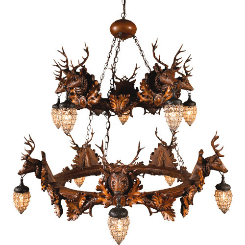 Stag Head 10 Light Two Tier Chandelier