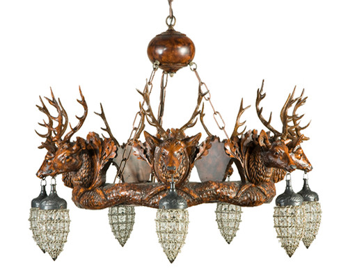 Stag Head Chandelier with Seven Glass and Wire Globes