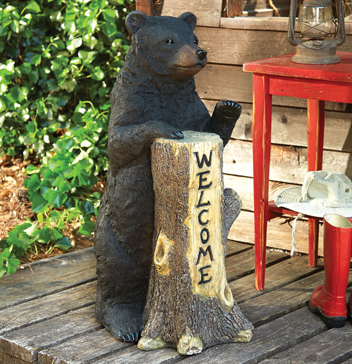 Standing Bear Welcome Tree Trunk - BACKORDERED UNTIL 9/17/2021