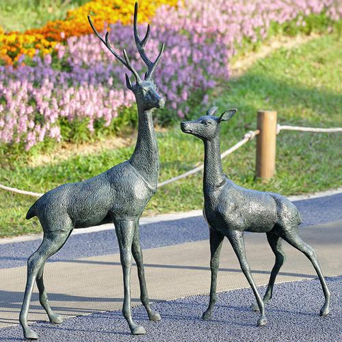 Standing Deer Garden Sculptures - Set of 2