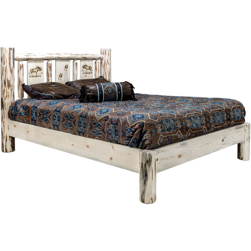 Frontier Platform Bed with Laser-Engraved Moose Design