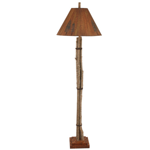 Stick Gathering Floor Lamp with Pine Tree Shade