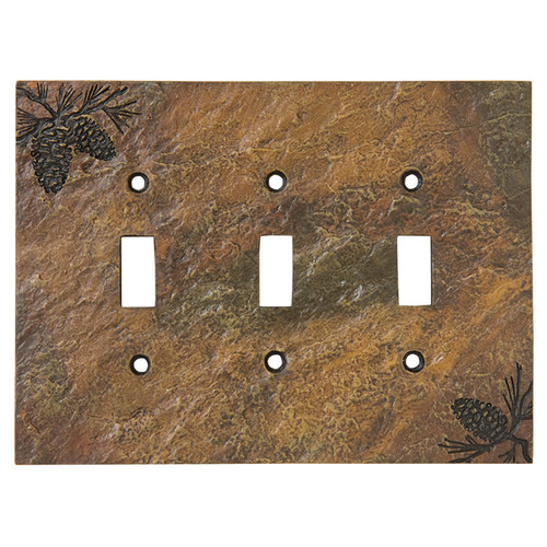 Stone Finish Pinecone Triple Switch Cover