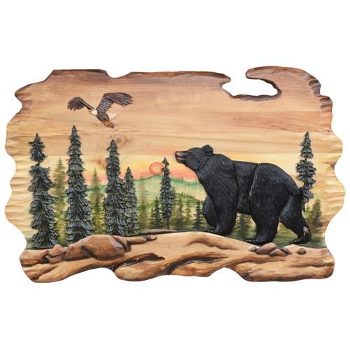 Sunset Bear & Eagle Wood Wall Art