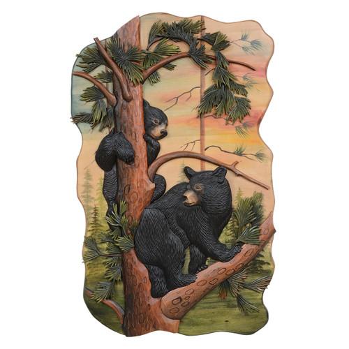 Sunset Bears Carved Wood Art