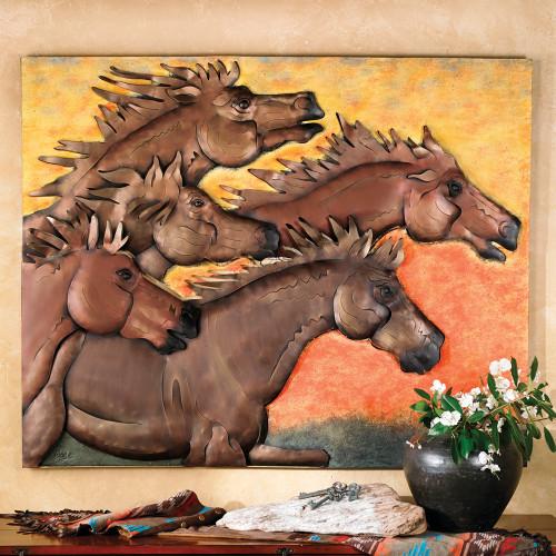 Sunset Run Horse Metal Wall Art