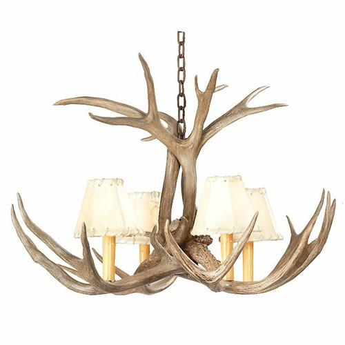 Mule Deer Antler Single Tier Chandelier - 4 Light