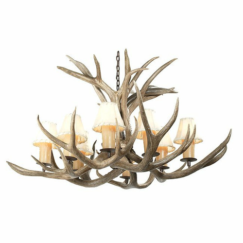 Mule Deer Antler Single Tier Chandelier - 8 Light