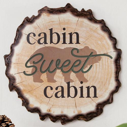 Sweet Cabin Tree Slice Sign - OVERSTOCK